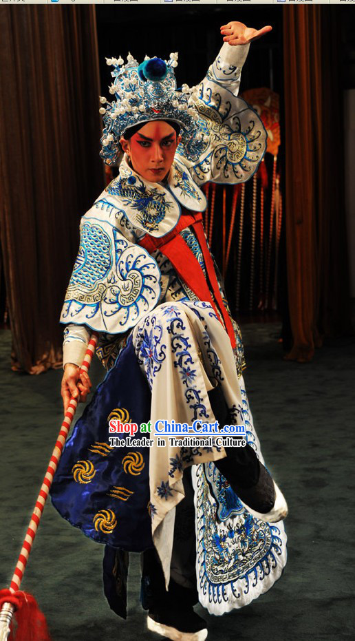 Chinese Beijing Opera Wu Sheng Costumes and Hat for Men