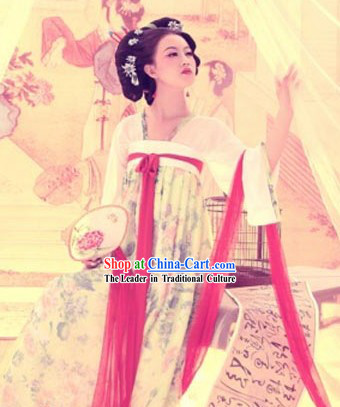 Traditional Chinese Tang Beautiful Women Costumes Complete Set