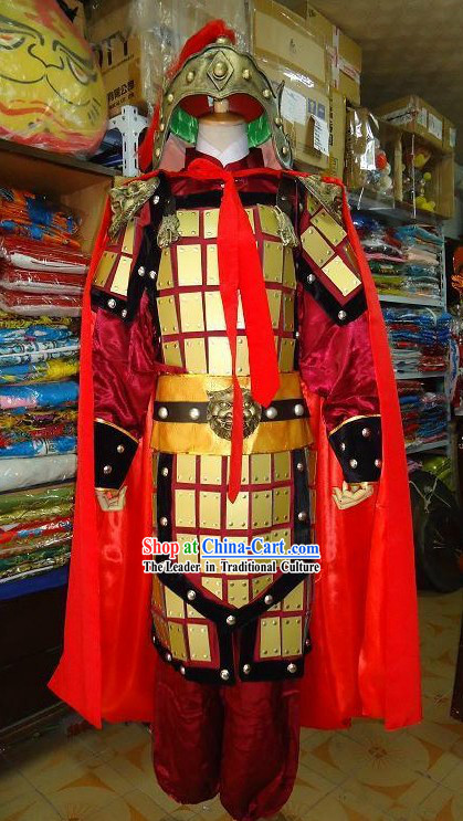 Ancient Chinese Armor Costumes and Helmet Costumes Complete Set with Cape