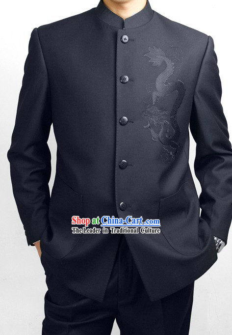 Formal Chinese Deep Blue Dragon Wedding Suit