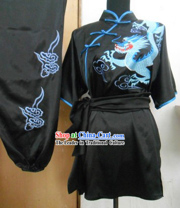 Chinese Classical Embroidered Dragon Silk Martial Arts Stage Performance Costumes