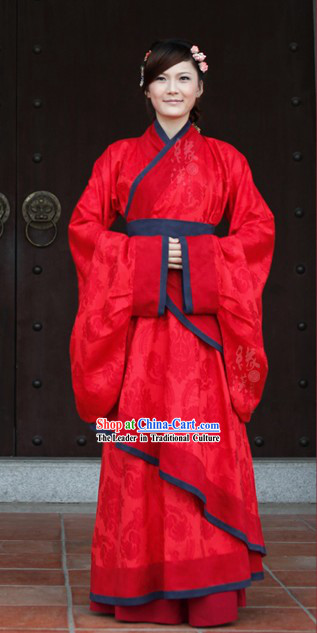 Traditional Chinese Han Dynasty Wedding Clothing for Brides