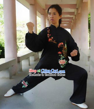 Traditional Chinese Silk Peacock Embroidered Tai Chi Suit