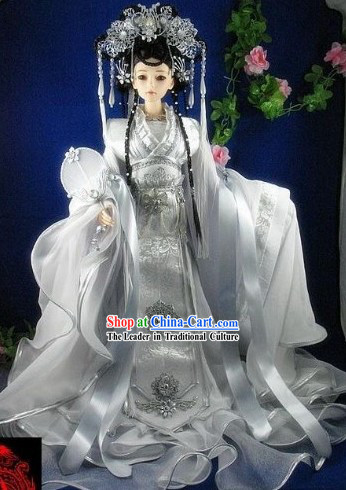 Ancient Chinese Hanfu Style Wedding Dress and Hair Accessories Complete Set for Bride