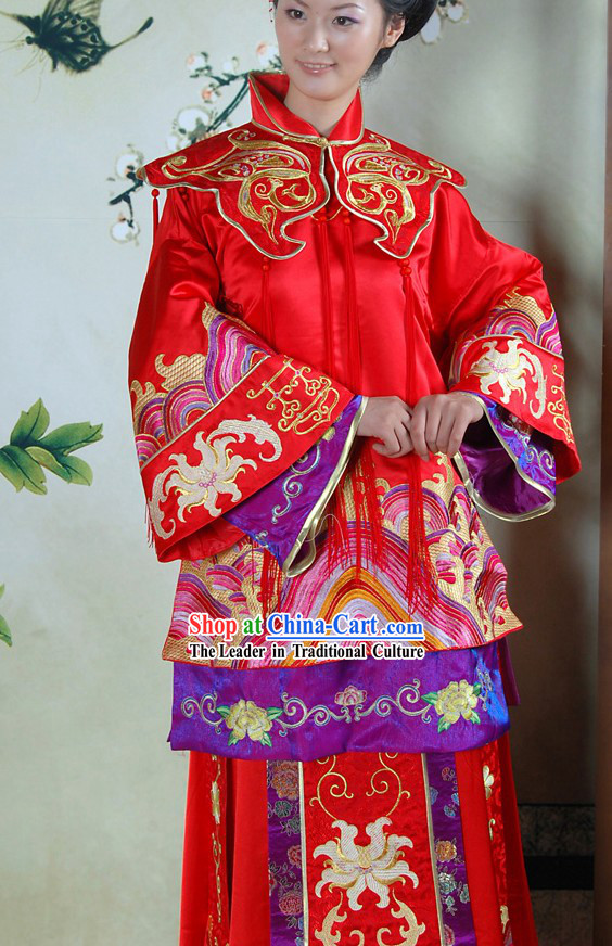 Stunning Chinese Red Phoenix Wedding Dress for Brides