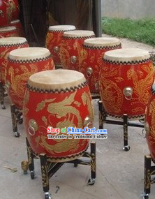 Traditional Chinese Red Dragon and Phoenix Wooden Drum