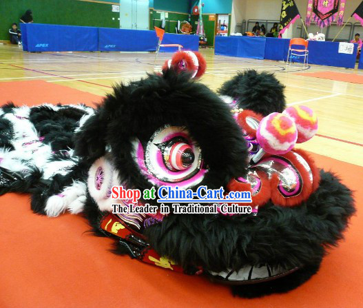 Black Long Wool Lion Dance Costume Complete Set