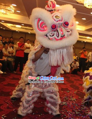 Professional White Wool Competition and Performance Lion Dance Costumes Complete Set