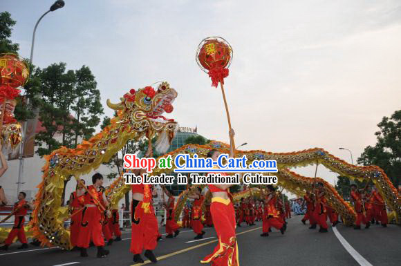 50 Meters Long Supreme Peking Olympic Dragon Dance Costume Complete Set