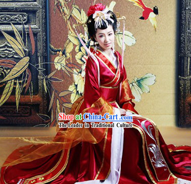 Ancient Chinese Princess Red Wedding Garment and Headgear Complete Set