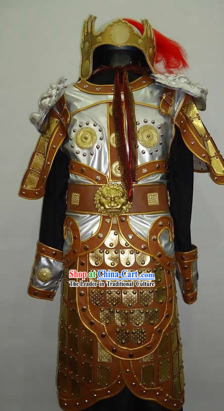 Ancient Chinese Knight General Armor Costumes and Hat for Men