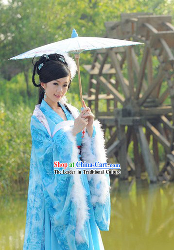 Ancient Chinese Chang Er Female Blue Moon Fairy Costumes