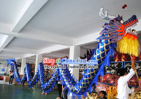Shinning Blue Competition and Parade Dragon Dance Costumes for Nine or Ten People