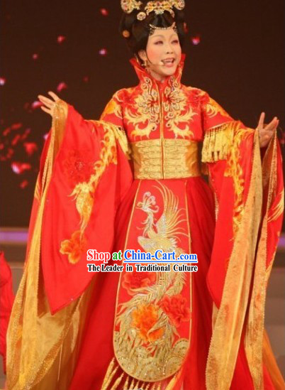 Stunning Completely Embroidered Phoenix Red Empress Clothing Wedding Dress Complete Set for Royal Family Brides