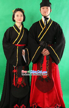 Ancient Chinese Lover Clothing Two Complete Sets for Men and Women