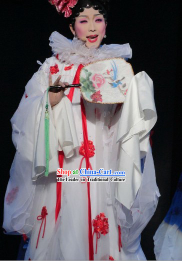 Li Yugang Style White Romantic Stage Performance Cape Costumes Complete Set