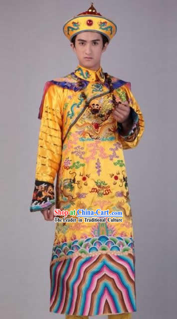 Qing Dynasty Emperor Dragon Costume and Robe for Men