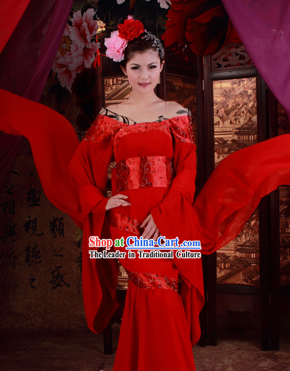 Chinese Classic Red Fish Tail Wedding Dress for Women