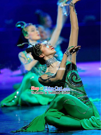 Chinese Classic Snake Dance Costumes and Headpiece for Women