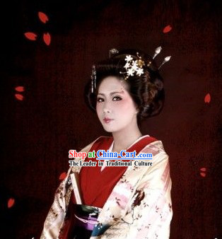 Traditional Japanese Noblewoman Costumes and Headpiece Complete Set