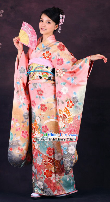 Traditional Japanese Pink Butterfly Furisode Kimono for Women (Sold)