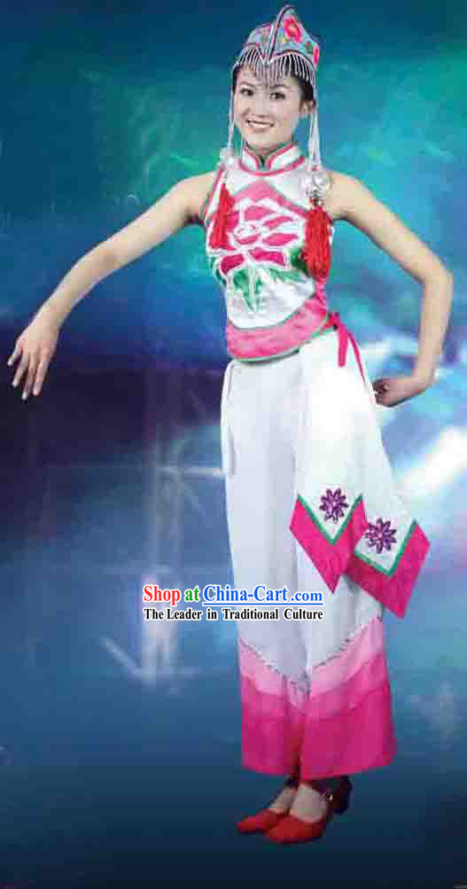 Chinese Yi Ethnic Minority Dancing Costume and Hat for Women