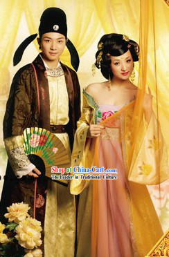 Tang Dynasty Husband and Wife Dresses 2 Complete Sets