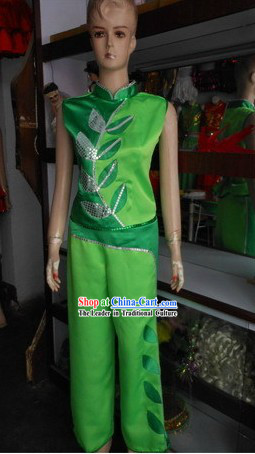 Green Leaf Fan Dance Costumes for Women