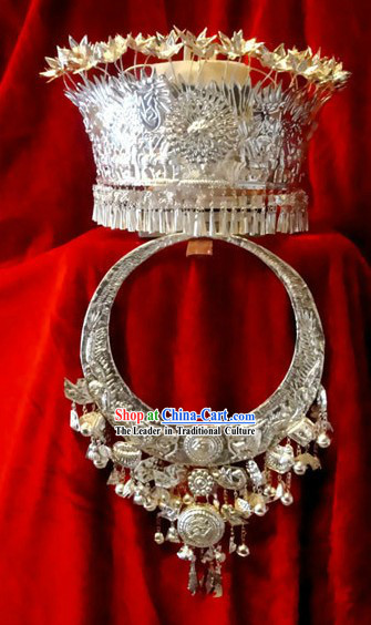 Miao Silver Hat and Necklace Set