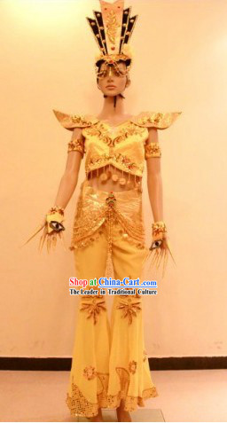 Ancient Chinese Palace Dance Costume and Accessories for Women