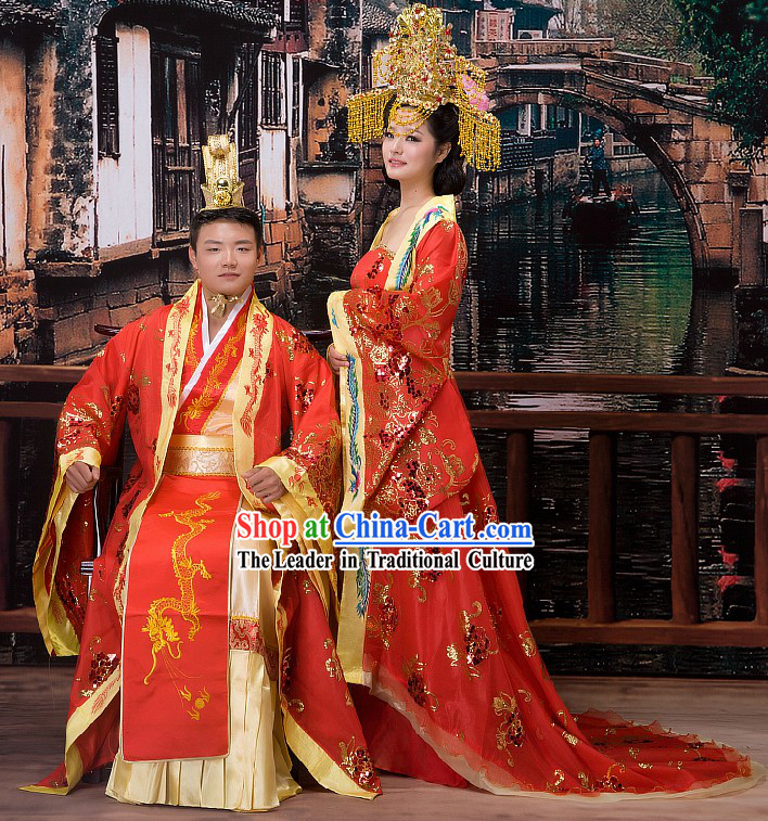 Ancient Chinese Ceremonial Wedding Dress and Hats Two Complete Sets