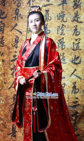 Traditional Chinese Bridegroom Wedding Dress and Coronet for Men