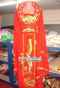 Ancient Red High Collar Embroidered Phoeix Empress Costumes