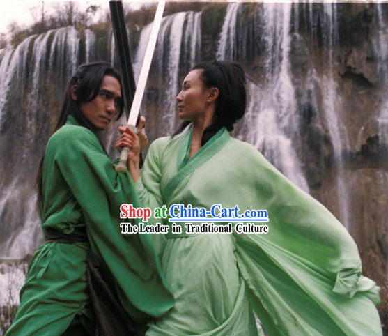 Chinese Qin Dynasty Period Costume Film Hero Kung Fu Master Knight Swordsman Hanfu Costumes for Men or Women