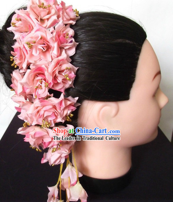 Traditional Thailand Pink Flower Hair Accessories