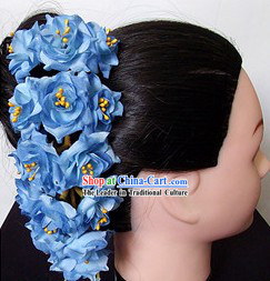 Traditional Thailand Blue Flower Hair Accessories