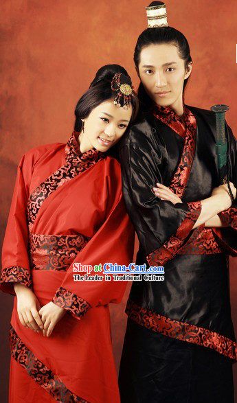 Ancient Chinese Wedding Dresses Two Complete Sets for Couple