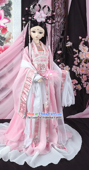 Ancient Chinese Pink Princess Clothing, Wig and Hair Accessories