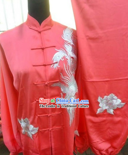 Red Silk Phoenix Kung Fu and Tai Chi Uniform for Women