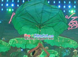 Chinese Classic Green Lotus Leaf Dance Umbrella