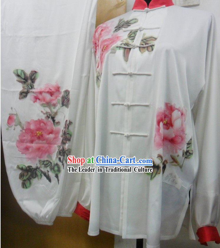 Chinese Classic Silk Hand Painted Peony Tai Chi Competition Uniforms for Women