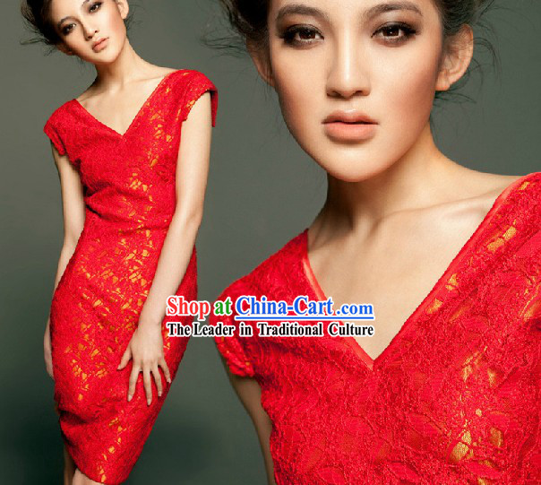 Simple Lucky Red Wedding Evening Dress