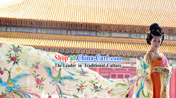 Ancient Chinese Tang Dynasty Empress Costumes and Headwear Complete Set