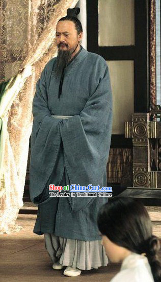 Eastern Zhou Dynasty Spring and Autumn Confucius Kong Zi Costumes Complete Set