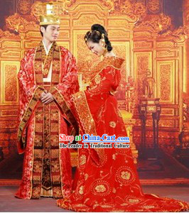 Ancient Chinese Wedding Dresses and Hats Two Complete Sets for Men and Women