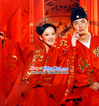 Chinese Classic Wedding Dresses Two Sets for Bride and Bridegroom