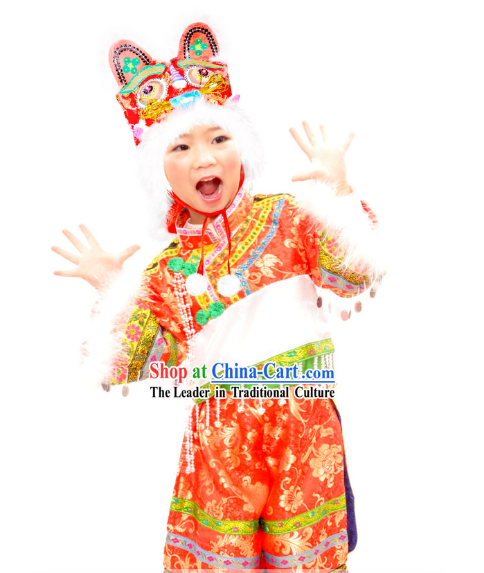 Chinese Lunar New Year Festival Celebration Tiger Dance Costume for Children