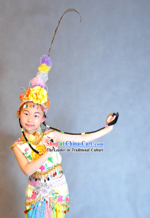 Chinese Classic Qiao Hua Dan Dance Costumes and Headpiece Complete Set for Children