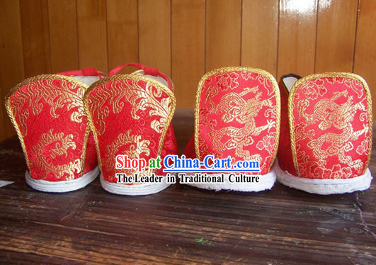 Chinese Classical Red Phoenix and Dragon Wedding Shoes for Bride and Bridegroom