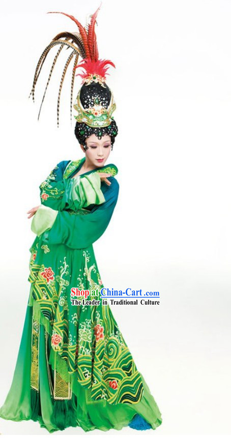 Ancient Chinese Li Yugang Four Beauties Opera Costumes and Hair Accessories Complete Set